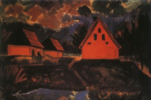 Max Pechstein red-houses 1923